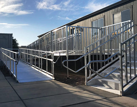 """TITANâ""""¢ ramp system leading into a portable classroom"""