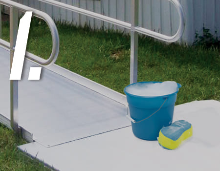 ramp with cleaning supplies