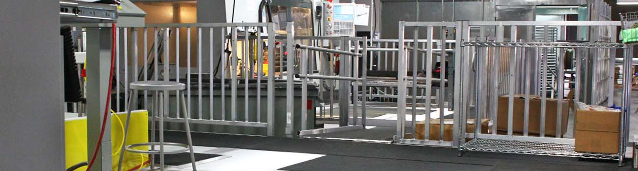 industrial workplace setting with OSHA compliant railings and platforms