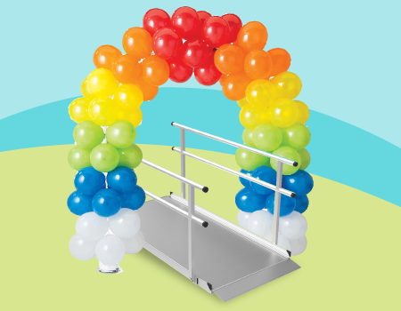 ballon arch in the color order of a rainbow over the Pathway 3G ramp