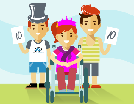 two children judges holding up 10 point cards and a girl in a wheelchair with a purple tiara