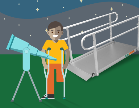 a boy with his left leg amputated with crutches standing behind a telescope and in front of the Pathway 3G ramp