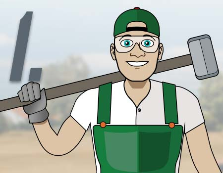 Step 1 - illustration of man holding a sledgehammer