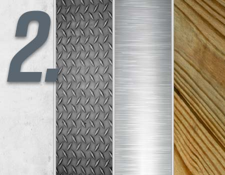 Step 2 - image comparison of concrete, steel, aluminum and wood ramp materials