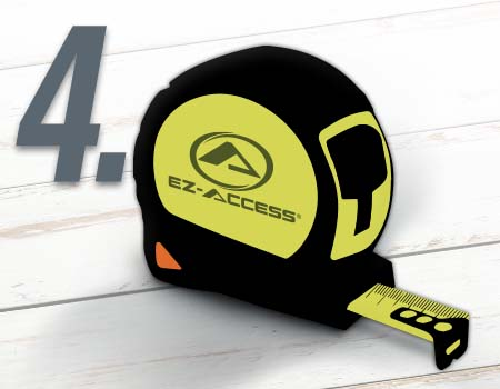 Step 4 - illustration of an EZ-ACCESS branded tape measure