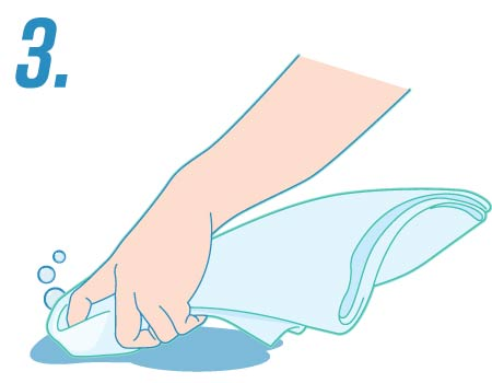 illustration of a hand scrubbing with a rag