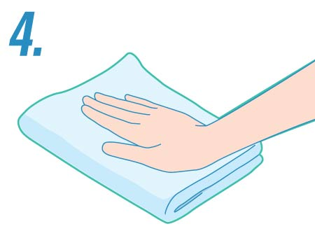 illustration of a hand drying with a rag