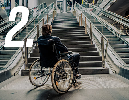 person in wheelchair on stairs