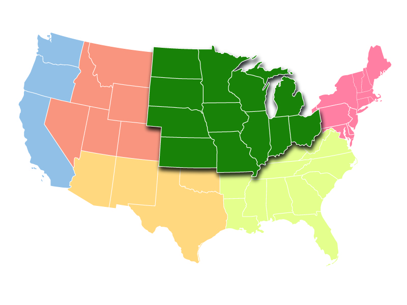 Map showing the Midwest Region