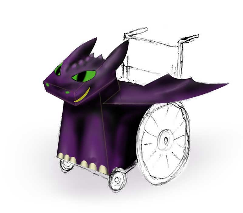 Hand drawn illustration of a Dragon Wheelchair Costume