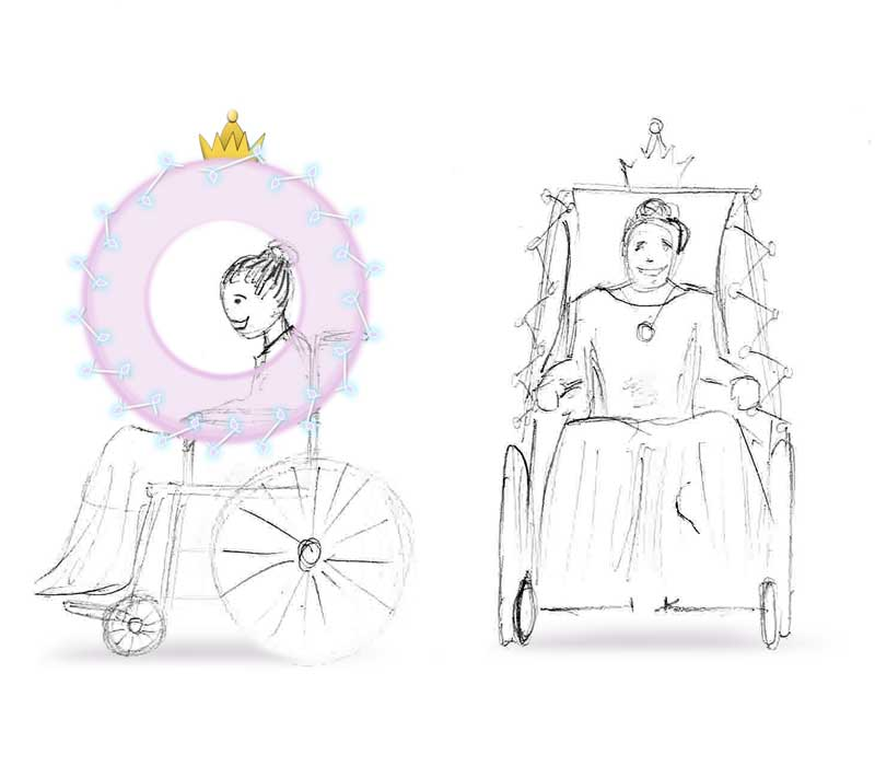 Hand drawn illustration of a princess carriage wheelchair costume
