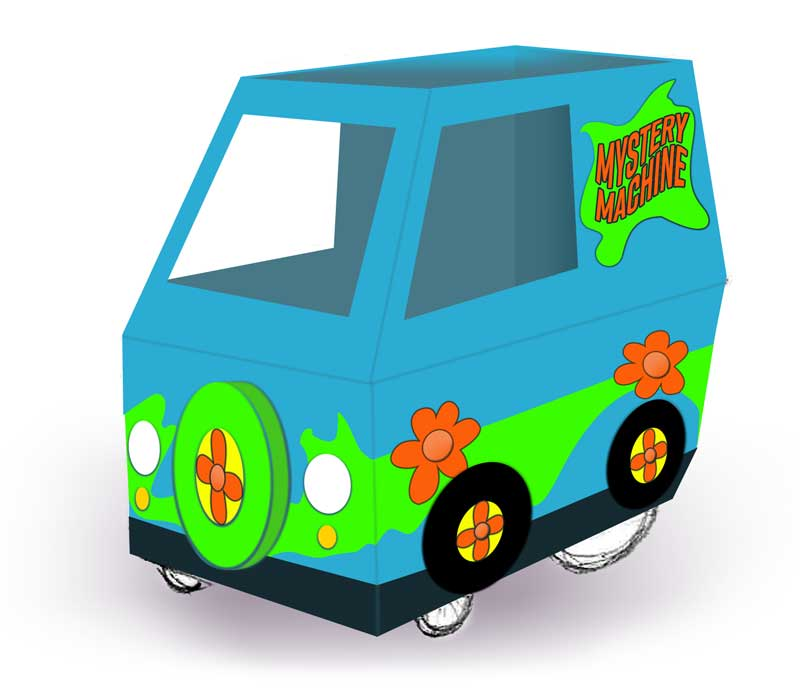 Hand drawn illustration of a Mystery Machine style wheelchair costume