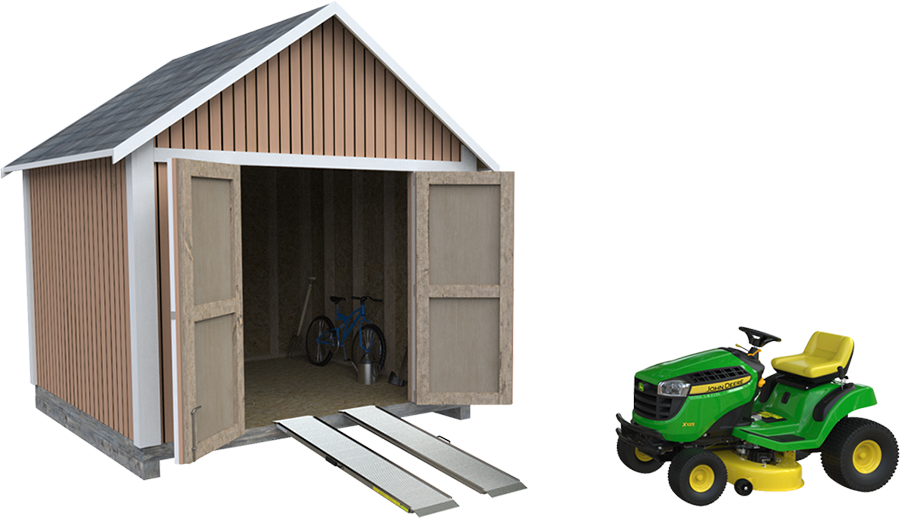 Shed with a ramp