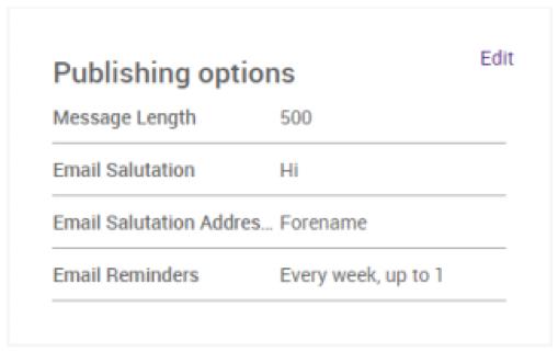Publishing options screen