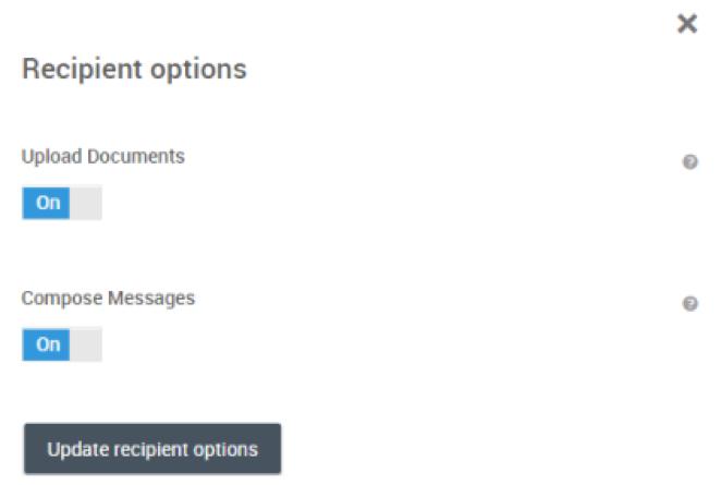 Update recipient options