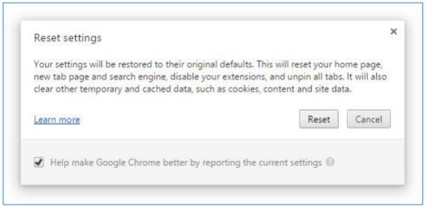 Reset settings window