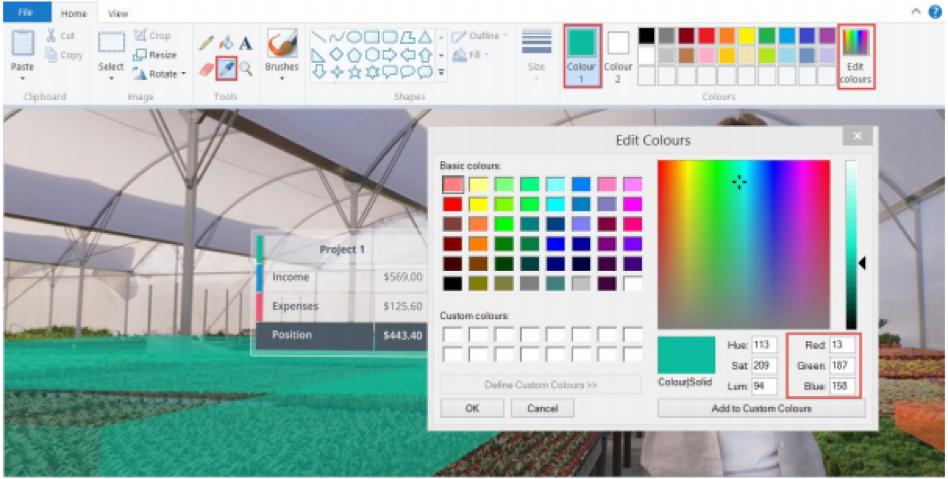 colour pick your branding colours or use RGB and HEX codes