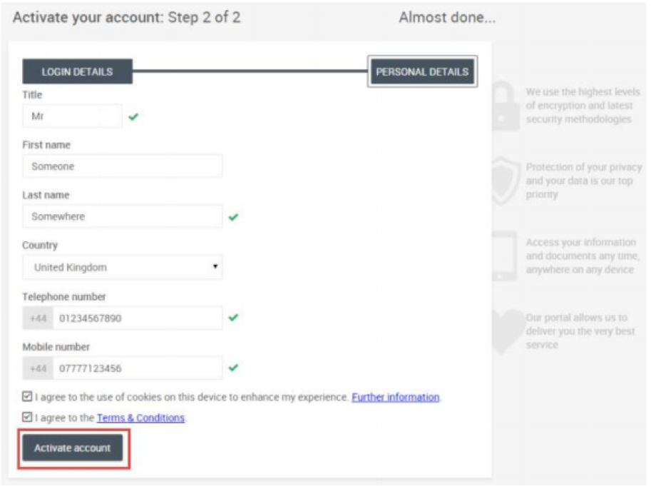 Activate your account - Step 2