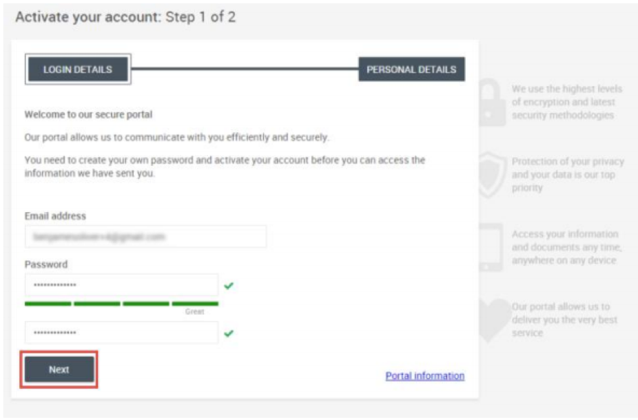 Activate your account - Step 1