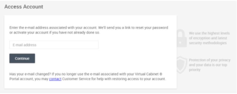 Access Account screen