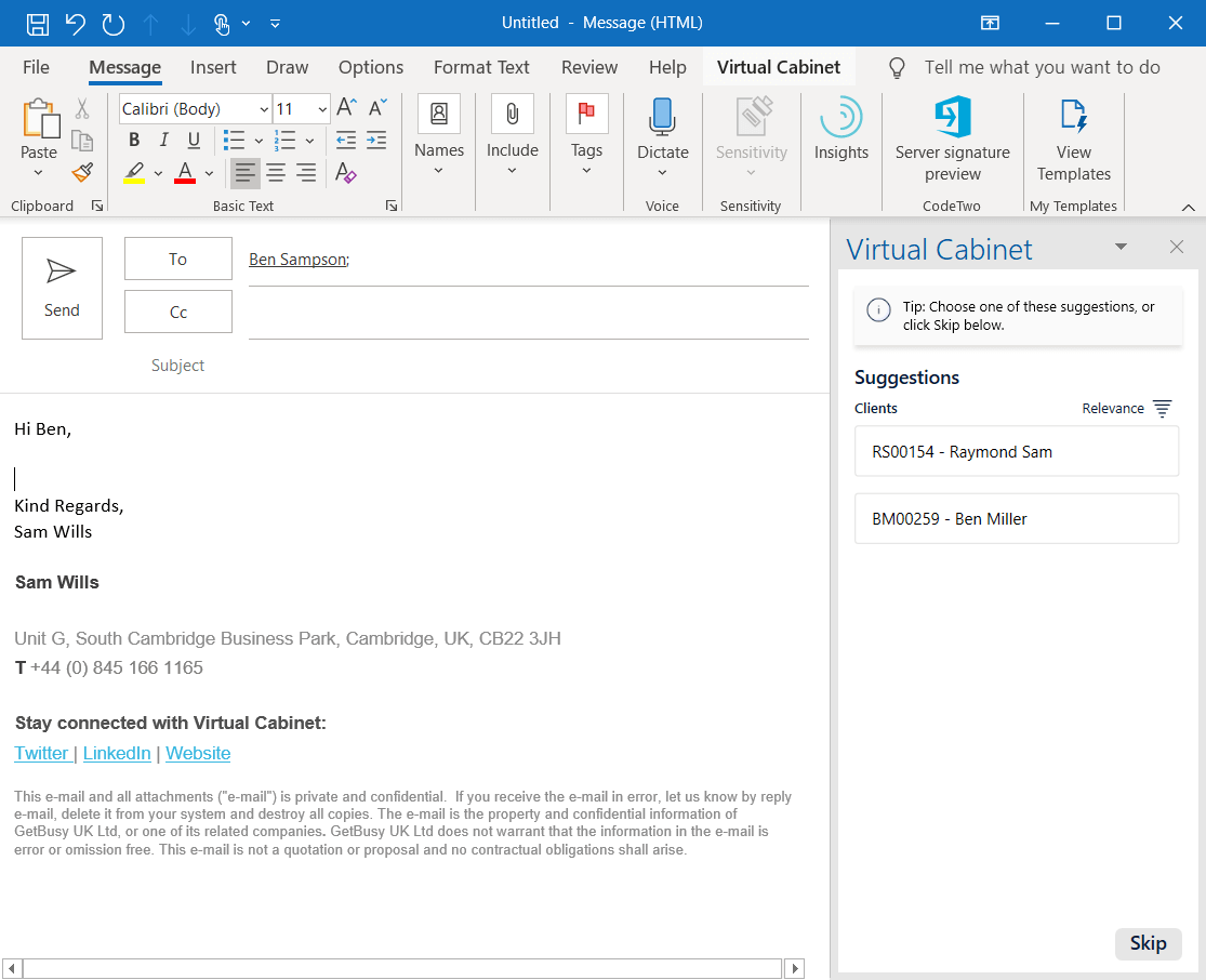 Outlook indexing pane