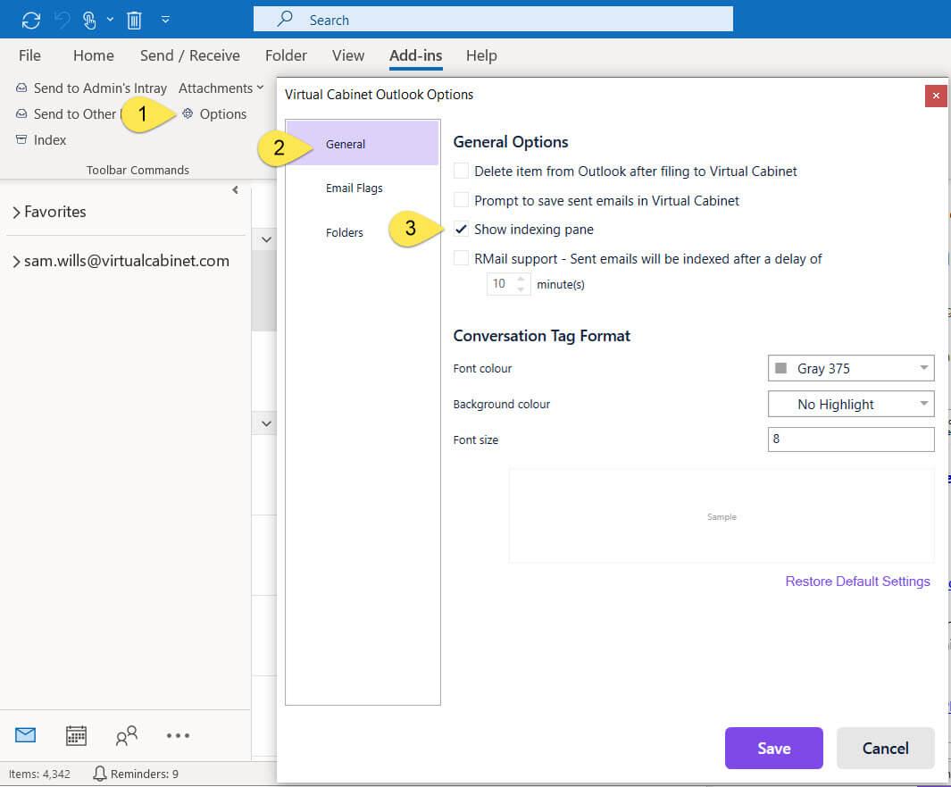 Virtual Cabinet Outlook Options Window