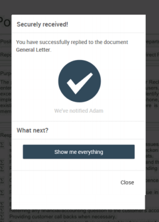 'Securely Received' confirmation