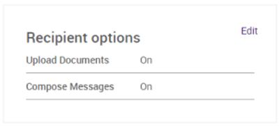 Recipient options screen
