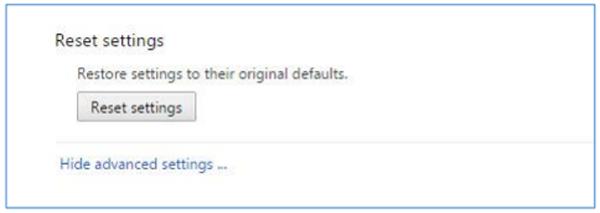Reset settings options