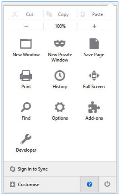 Customise settings option