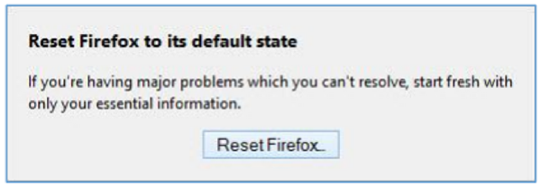 Reset firefox to its default state