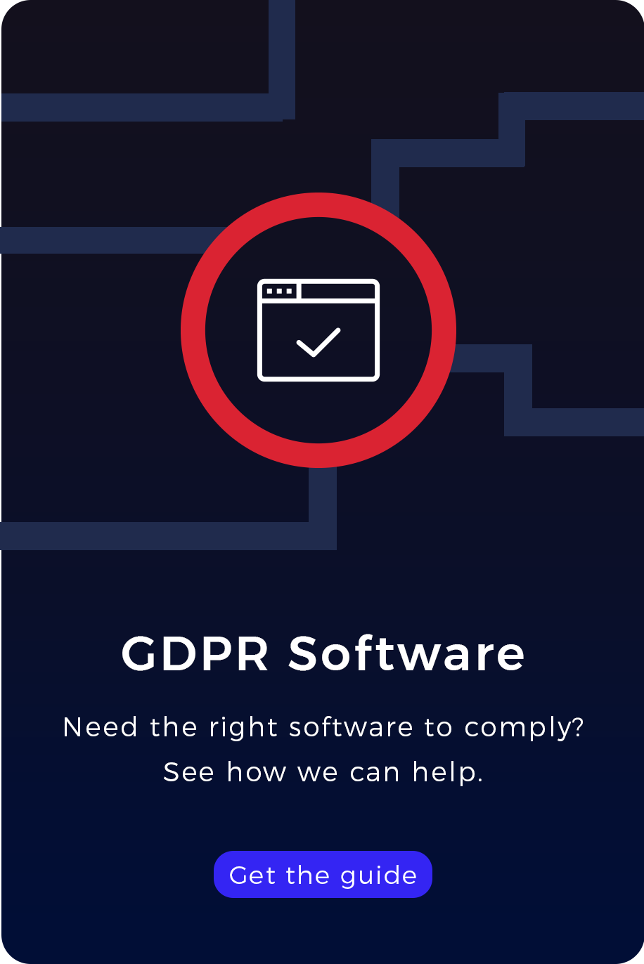 GDPR Software. Need the right software to comply? ebook cover
