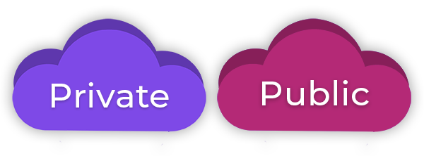 Private and public cloud icons