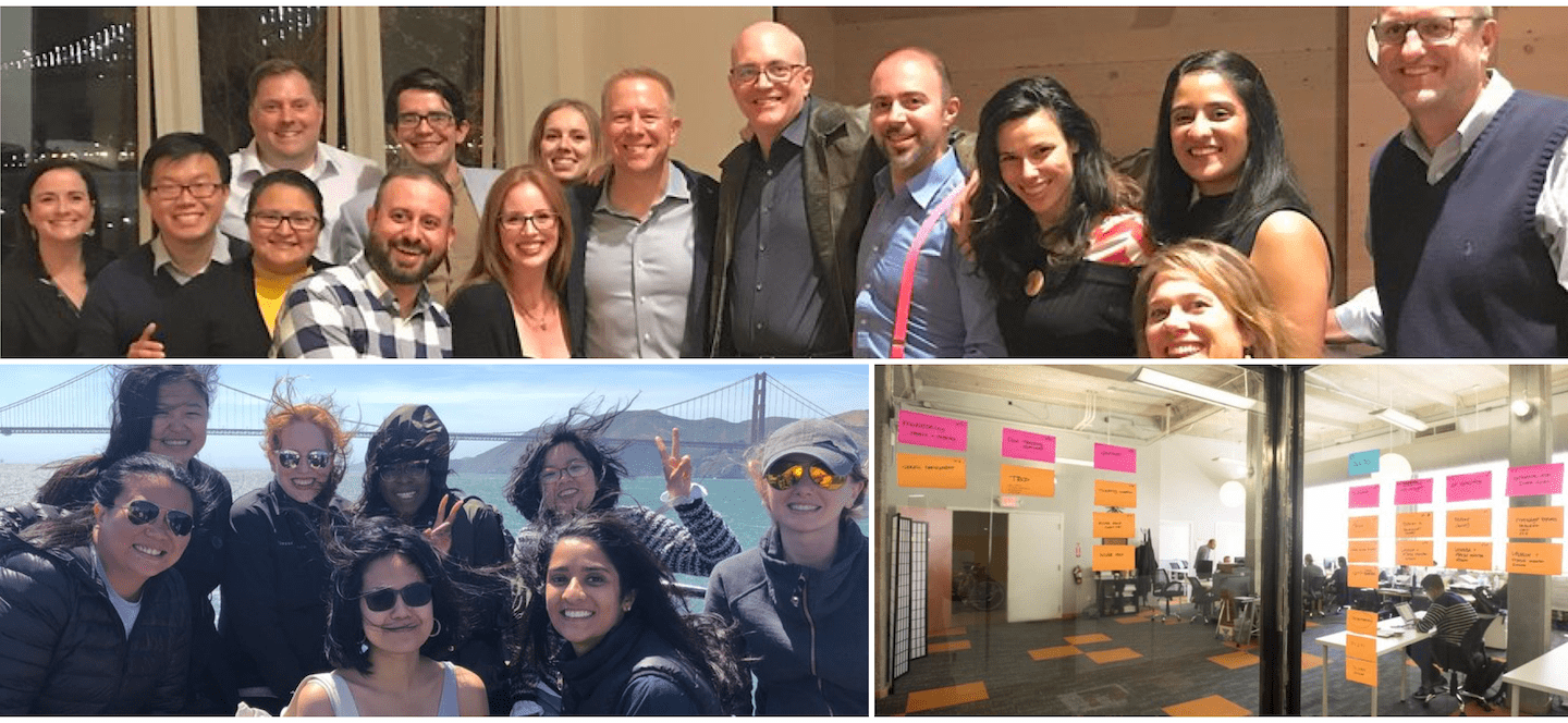 Element employees photo collage with golden gate bridge, sticky notes