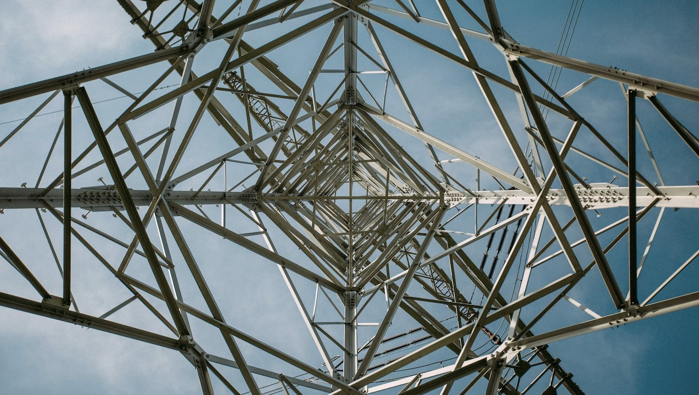 Lower angle of utility tower