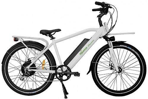 A white Motorino CTi electric bike.
