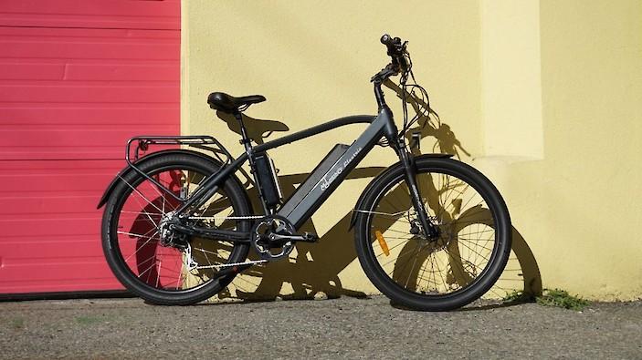 A black Motorino electric bike.