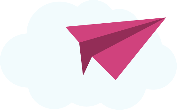 A pink paper airplane illustration.