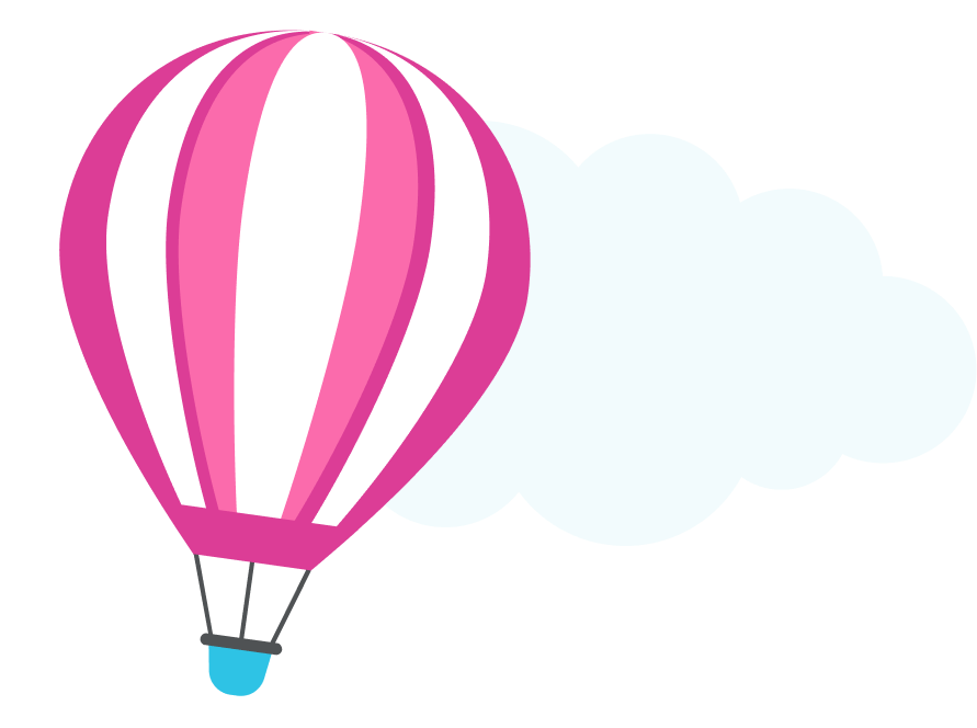 A pink and blue hot air balloon illustration.