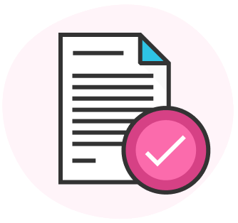 A paper and check mark icon to represent required application documentation.