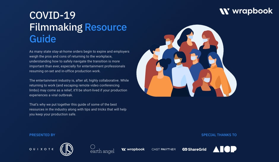 A snapshot of Wrapbook's Covid-19 Resources for Filmmakers