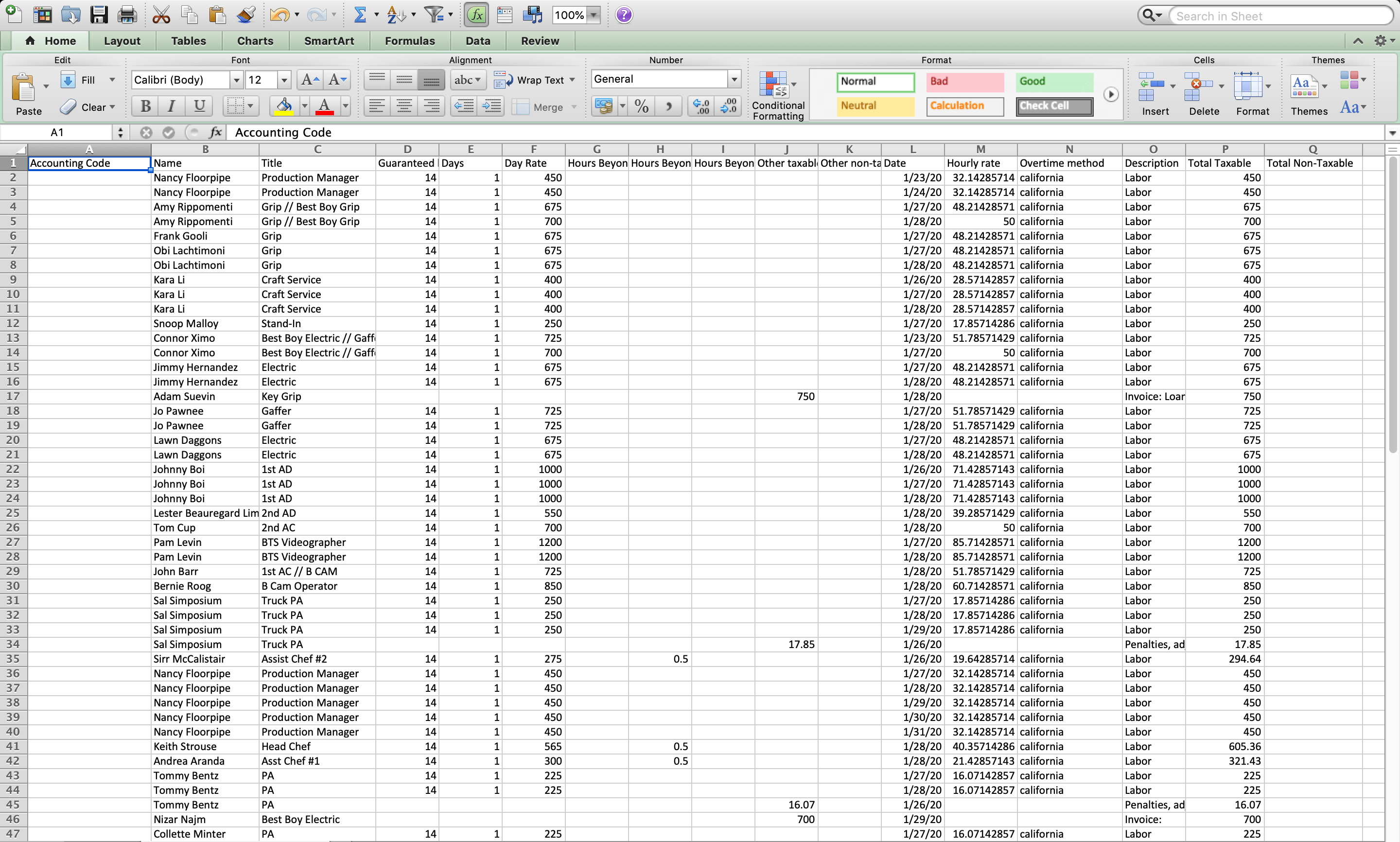 Once you import a wrap report into Excel, you'll a line item of your entire production's expenses.