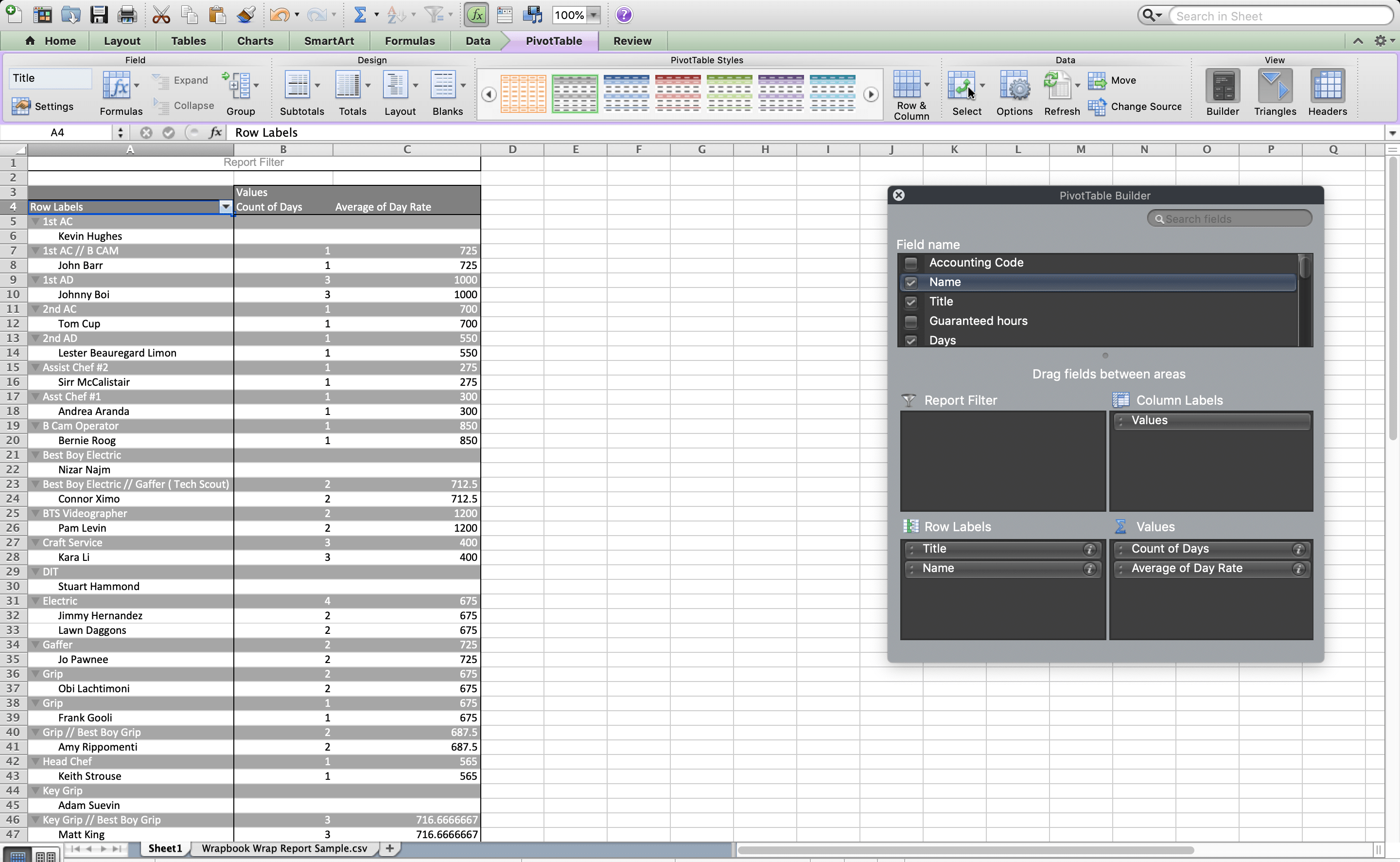 Build your pivot table according to what information you need to pull.