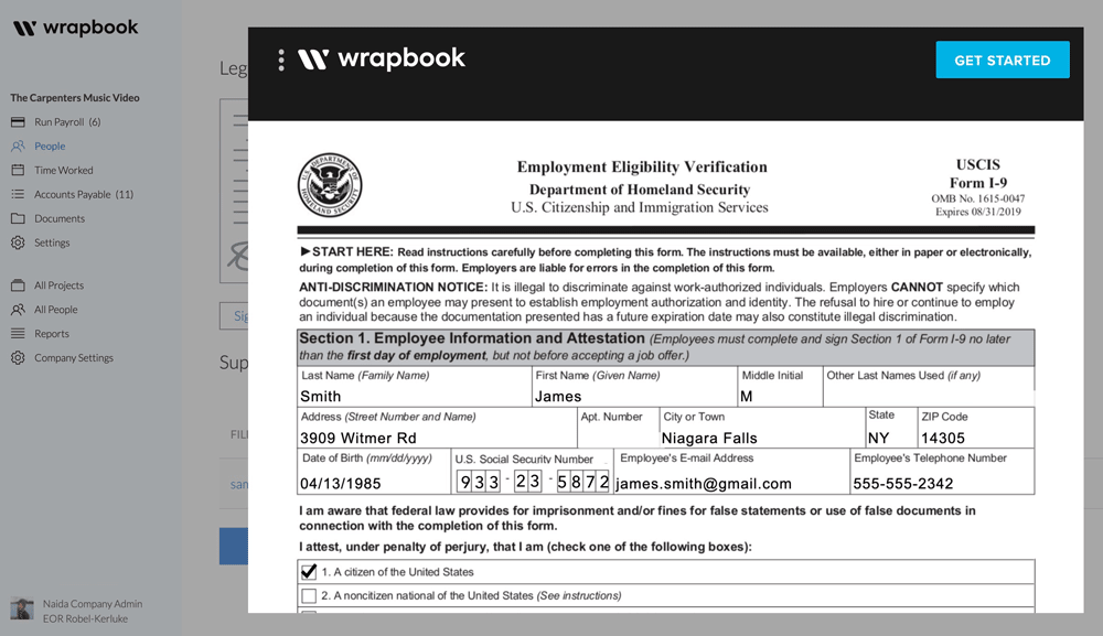 Filling in an I-9 on the employee side in Wrapbook will save production coordinators hours and just as many headaches