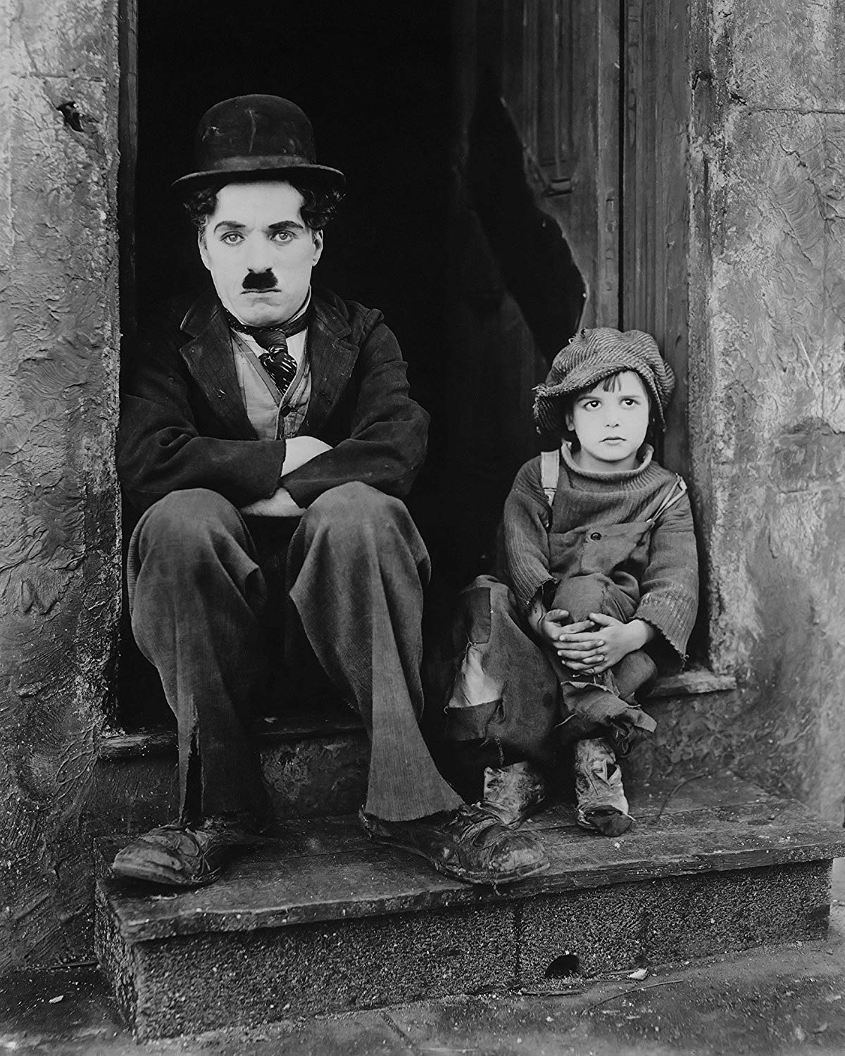 Jackie Coogan and Charlie Chaplin on The Kid.