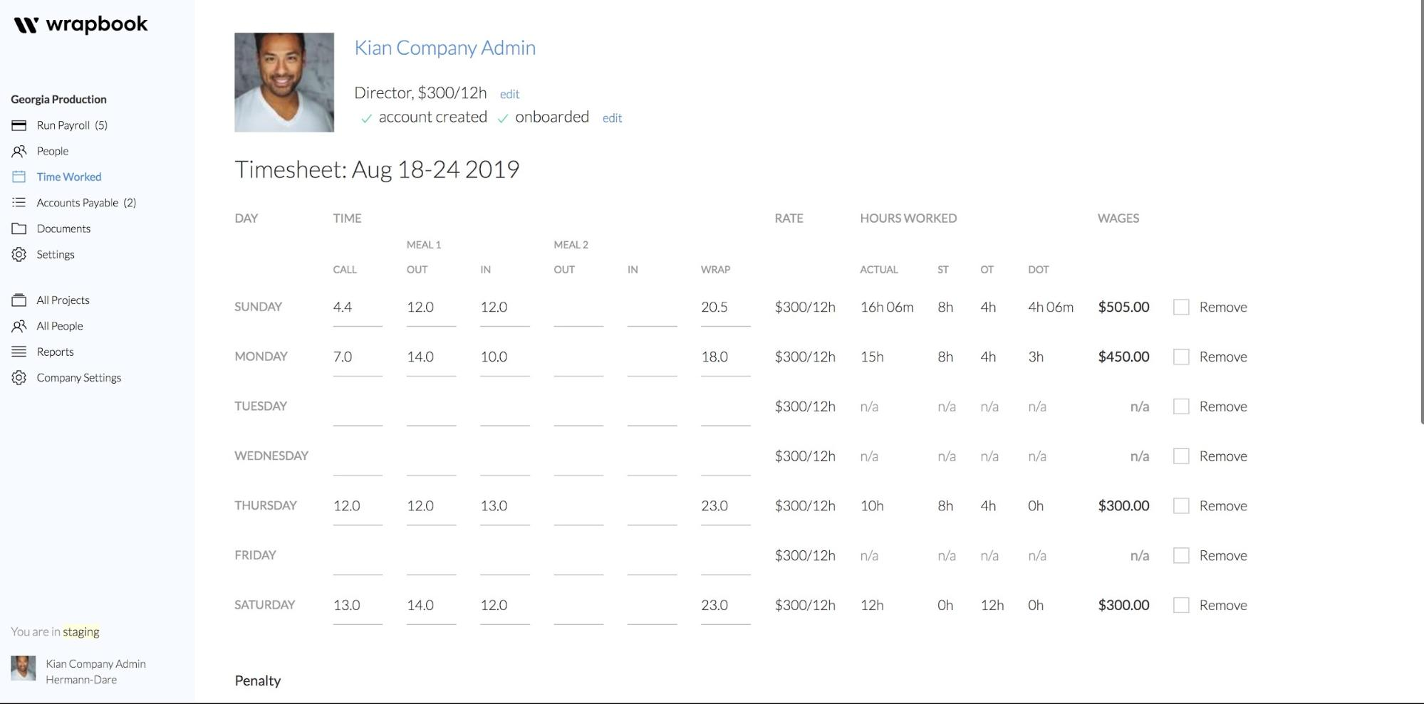 Weekly Timecard Input in Wrapbook