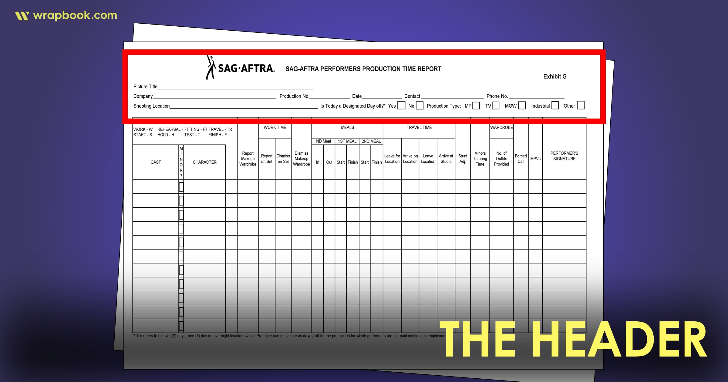 The Header - How to Fill Out The SAG Exhibit G Form