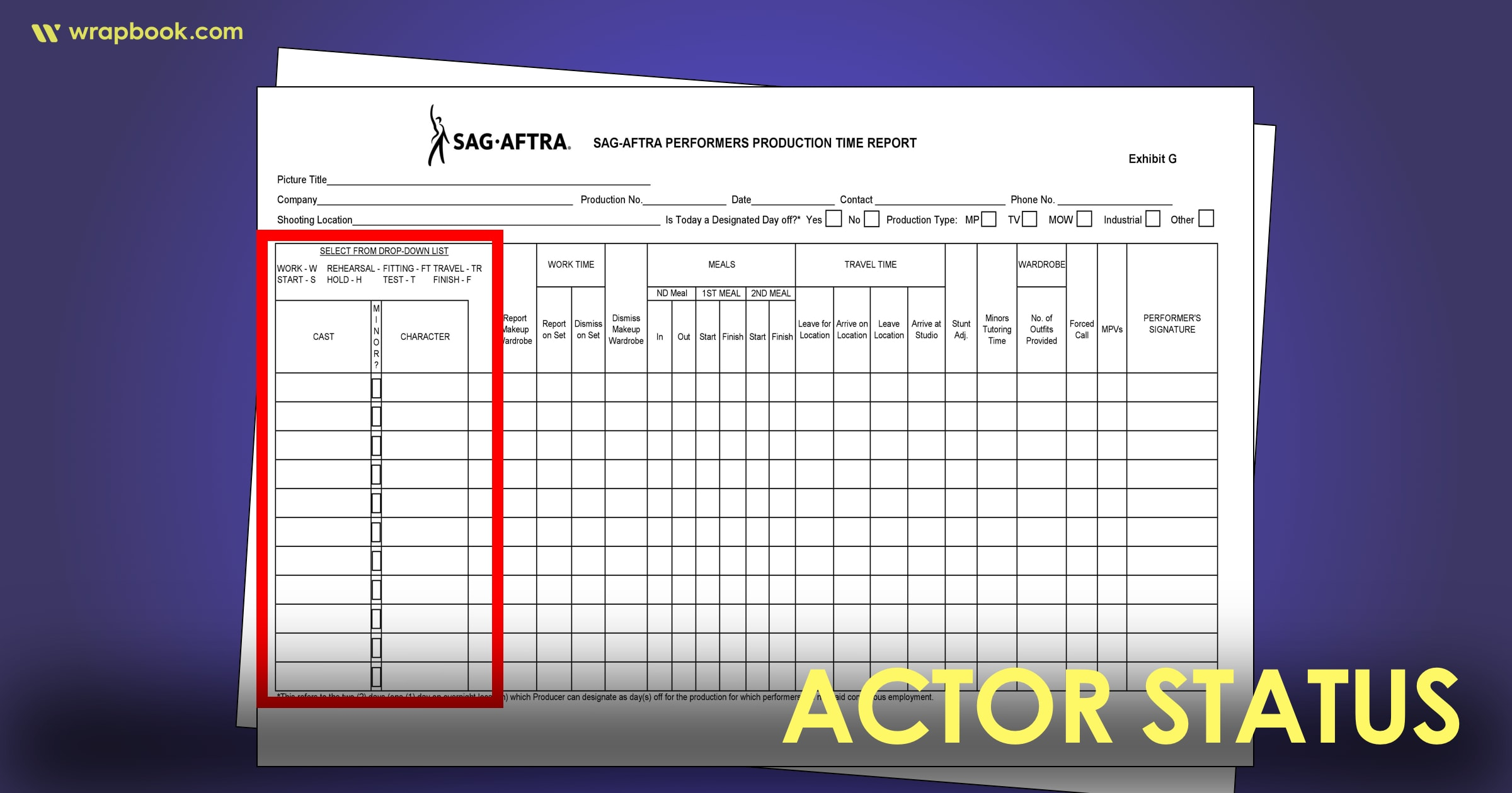 Actor Status - How to Fill Out The SAG Exhibit G Form