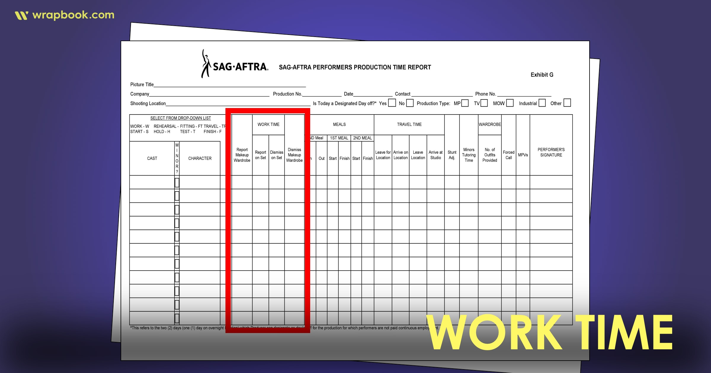 Work Time - How to Fill Out The SAG Exhibit G Form