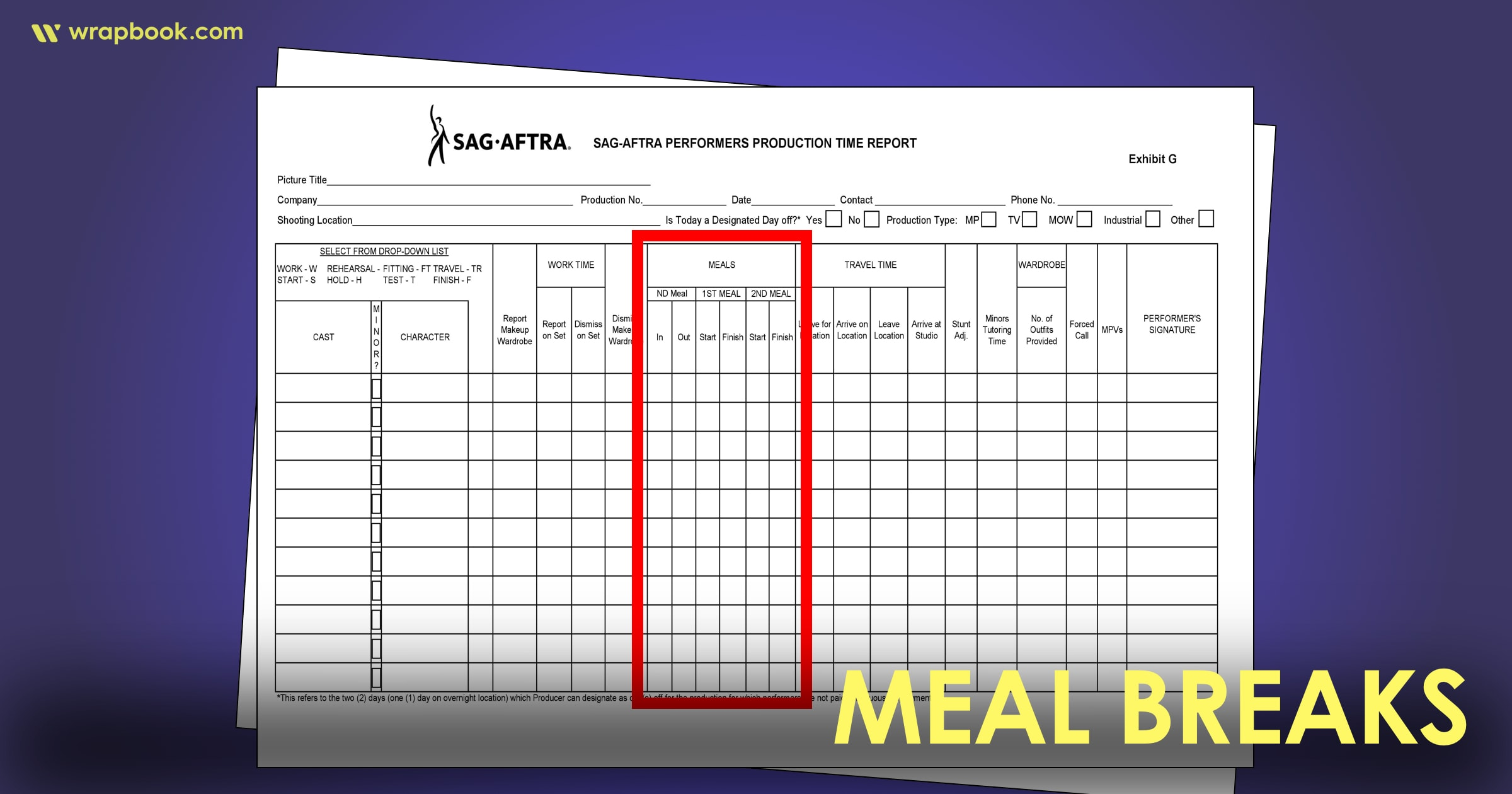 Meal Breaks - How to Fill Out The SAG Exhibit G Form